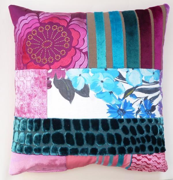 Patchwork cushion in Designers Guild off cuts