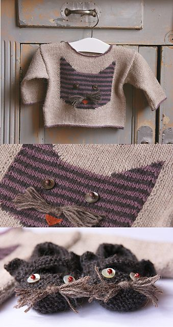 Ravelry: La Droguerie cat sweater - Inspiration on the slippers. I believe I could crochet something like that.