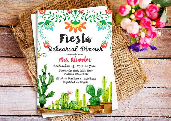 Fiesta Rehearsal Dinner invitation Mexican by HappyPartyStudio