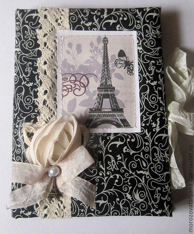 """Купить Блокнот ручной работы """"Черно-белый Париж"""" - тёмно-серый, Париж, Франция"""