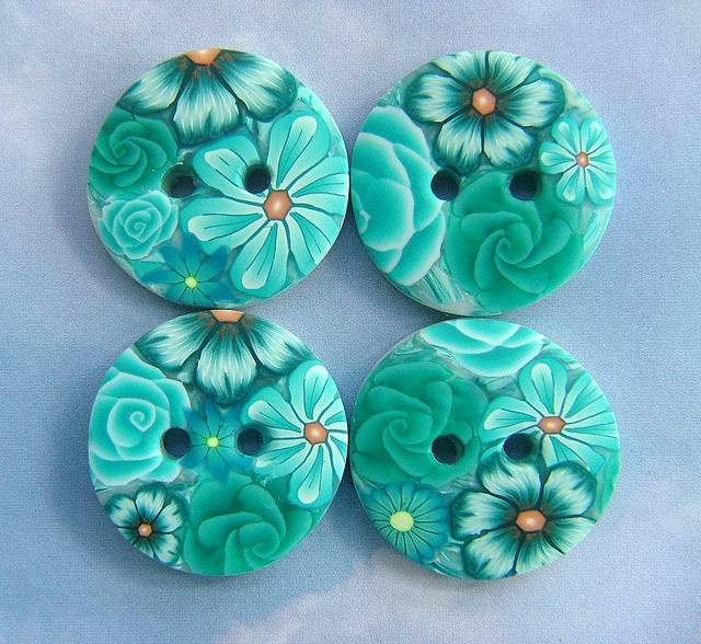 pretty.Turquois Buttons, Buttonsdream Cars, Buttons Buttons, Buttons Polymer Clay, Buttonsvintag Style, Turquoise Buttons, Polymer Clay Buttons, Clay Crafts, Polymer Clay Creations