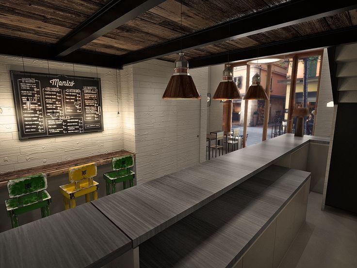 RENDER LOCALE COMMERCIALE_Studio dell'illuminazione, materiali e arredi, attraverso l'ausilio della renderizzazione in fase di progettazione.