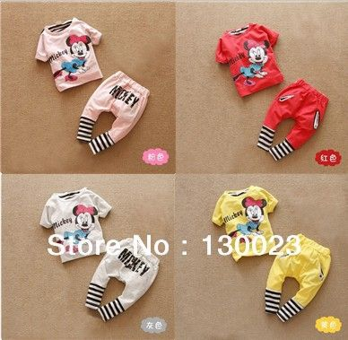 2013 summer kids cartoon mickey suits girls stripe minnie suit boys sprot clothing sets Tops+Pants 2pcs set Retail Free Shipping US $10.00 - 11.64