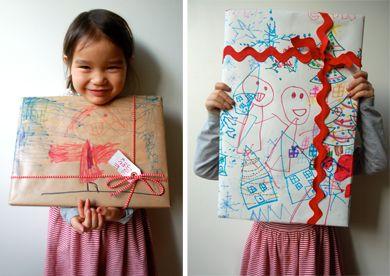 : Creative Gifts, Xmas Wraps, For Kids, Birthday Wraps Kids, Involvement Kids, Gifts Wraps, Wraps Gifts, Christmas Wraps Paper, Paper Ideas