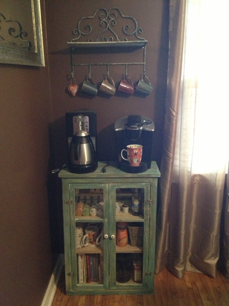 Simple coffee corner in the dining room. Saves counter ...