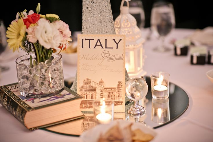 Reception table decor for a vintage travel themed wedding