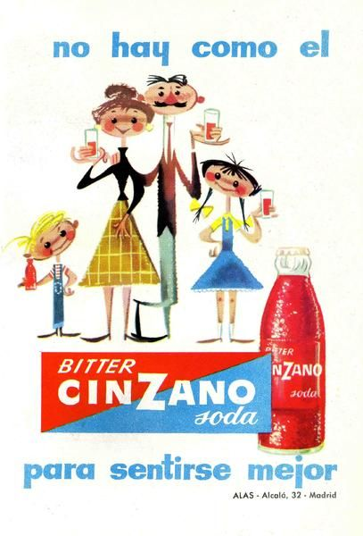 Bitter. Para finalizar, nada como un dibujo de José Luis Moro realizado la publicidad de Bitter Cinzano soda, un aperitivo muy popular en los años 50 y 60, hoy un tanto arrumbado por la moda. Lo curioso de este anuncio es que lo bebían también los niños. Se los ve súpercontentos.