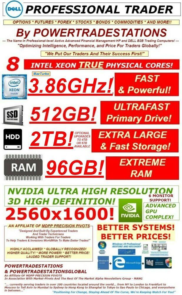 Dell Trading Computer 6monitor Xeonmaxturbo3 86ghz 512gbssd 2tbhdd
