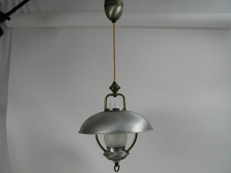 Vtg Pull Down Lamp Saucer Ceiling Light Retractable Silver