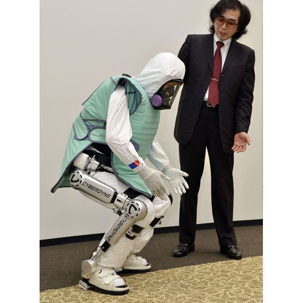 """Very useful robot suit """"HAL"""" with a 60kg anti radiation jacket by CYBERDYNE Inc.   MADE IN JAPAN http://www.cyberdyne.jp/english/index.html"""