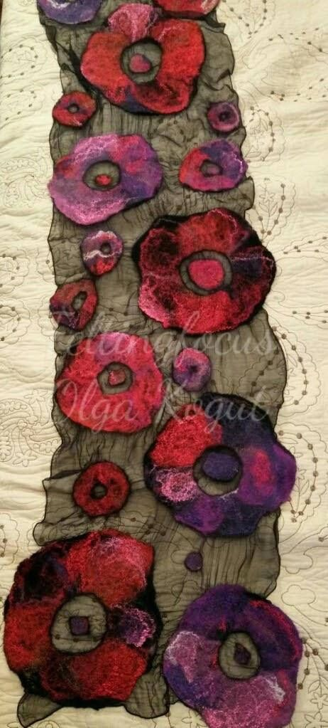 Nuno felted scarf Poppies