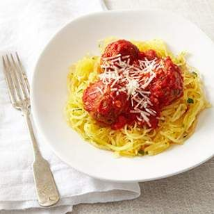 """Spaghetti Squash & Meatballs-just have to give the """"spaghetti squash"""" thing a try.  No cheese for me though!"""