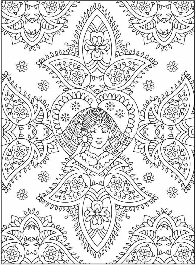 mehndi design by dover adult coloring pagescoloring - Mehndi Coloring Pages