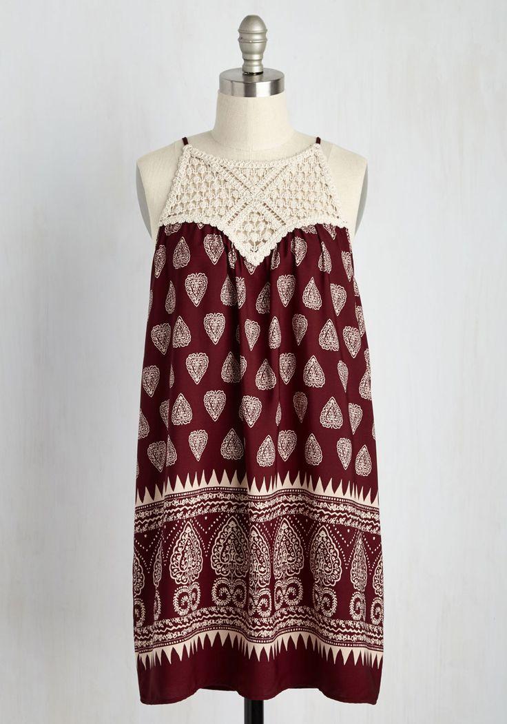 Casual Composer Dress - Red, Tan / Cream, Print, Global, Casual, Sundress, Boho, Shift, Sleeveless, Summer, Woven, Good, Short