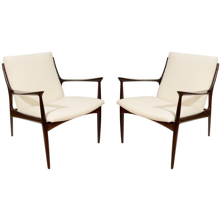 Ib Kofod Larsen Sculpted Arm Club Chairs