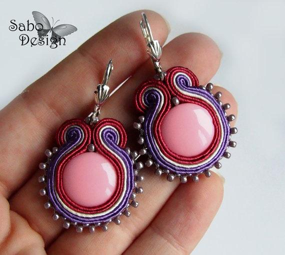 soutache earrings handmade embroidery violet ecru by SaboDesign
