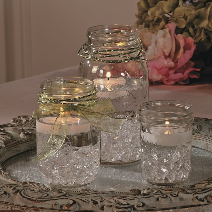 pictures of wedding centerpieces using mason jars%0A Use the timeless appeal of Mason jars to create simply elegant centerpieces  for your wedding reception  So easy to make  these centerpieces are pretty  to