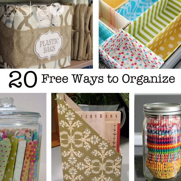 20 Free Ways to Organize! Can't wait to try out #20! howdoesshe.com