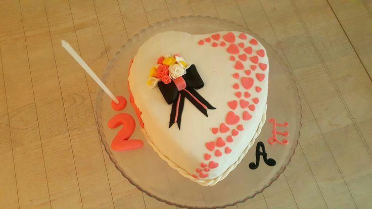 2.evlilik yıldönümü pastası 😍 şeker hamuru. Pasta. KalpliPasta.