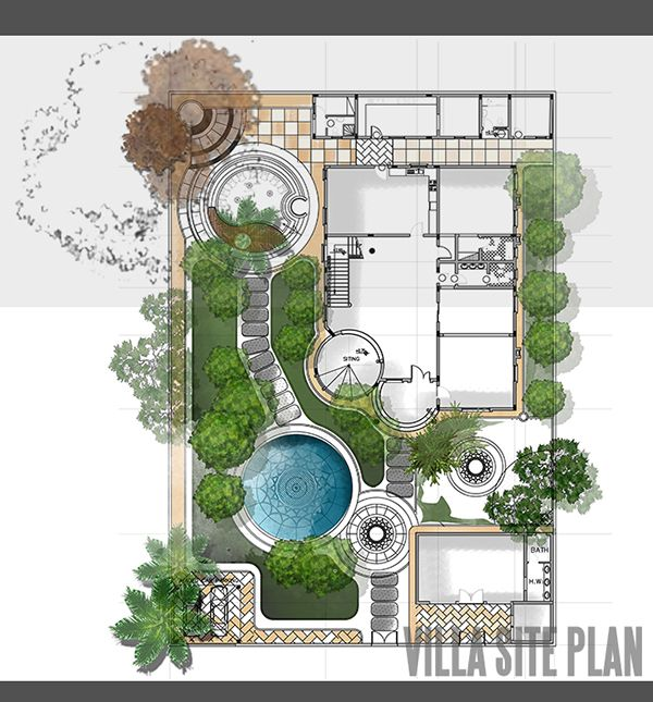 siteplan and landscape design for private villa in Qatar.  Like the yin and yang of the landscape design.