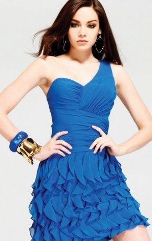 Multi Sheath Short One Shoulder Royal Blue Chiffon Dress