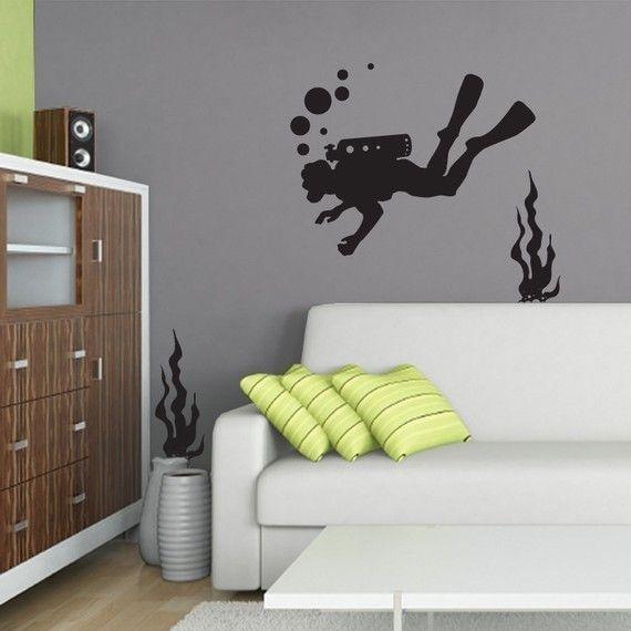 tatuajes de pared de vinilo submarino buzo y algas por vinylfruit