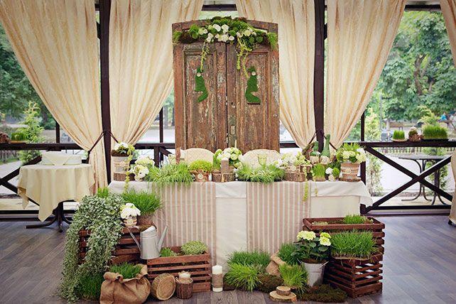 деревянный декор свадьбы