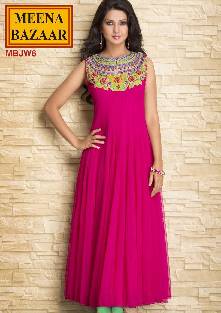 MBJW6 Embroidered Long Anarkali Kurti on Nett Fabric ...
