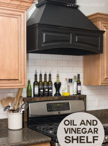 Build a shelf over your stove to hold your oils, vinegars, and seasonings. Full instructions with pictures on how to make your own.