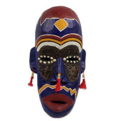 Novica Ghanaian KingS Men Wood Mask Wall Décor