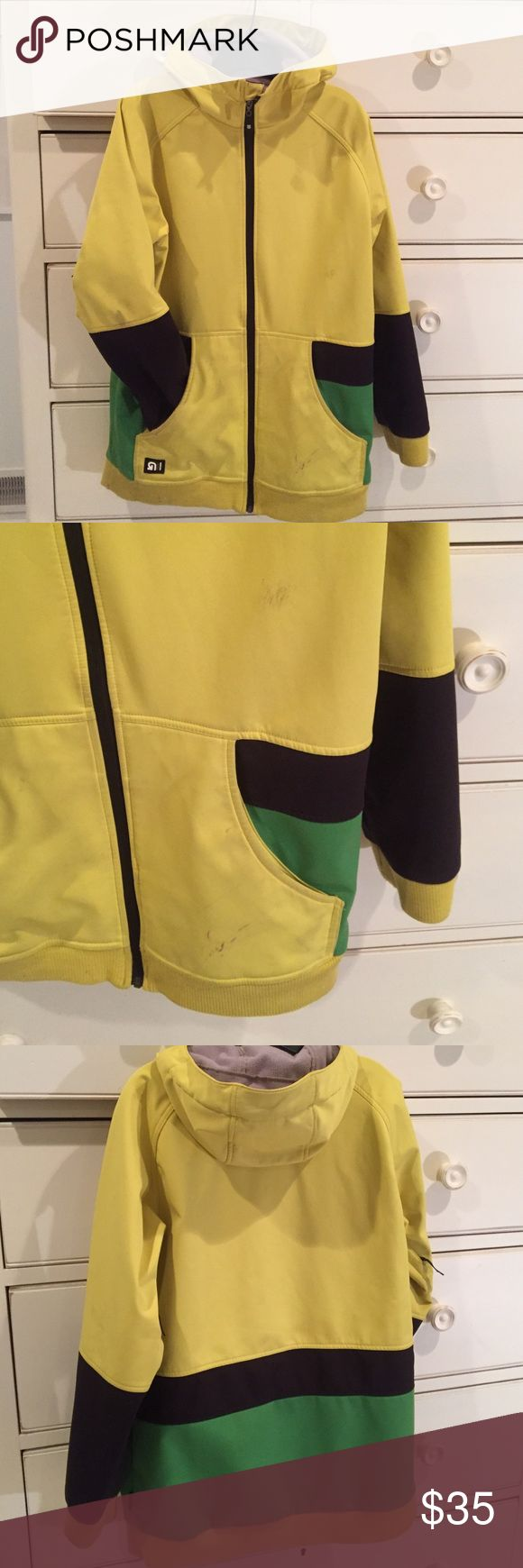 Burton ski jacket dryride Used condition. Front zip pockets. Vents under arms. Fleece lining. Hood. Yellow black green. Longer snowboard style.   Snaps inside to attach pants. Burton Jackets & Coats Performance Jackets