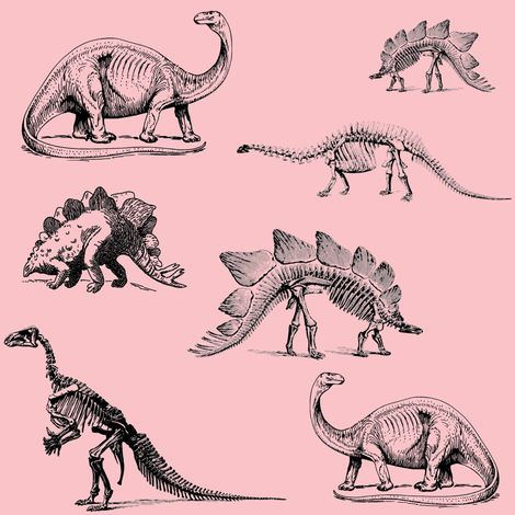 Museum Animals, Dinosaur Skeletons, Black and Light Pink fabric by bohobear on Spoonflower - custom fabric