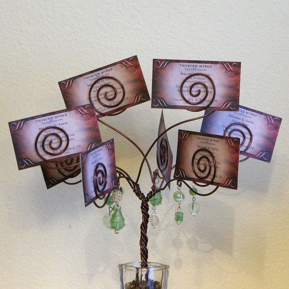 Wire Tree - card holder - photo display - wedding centerpiece - brown -  green via