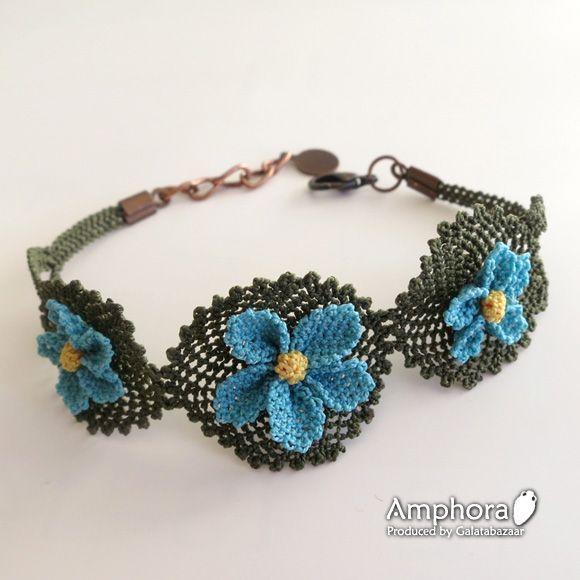 イーネ・オヤ刺繍針で作る繊細なレースブレスレッド/アクアマリンの小花