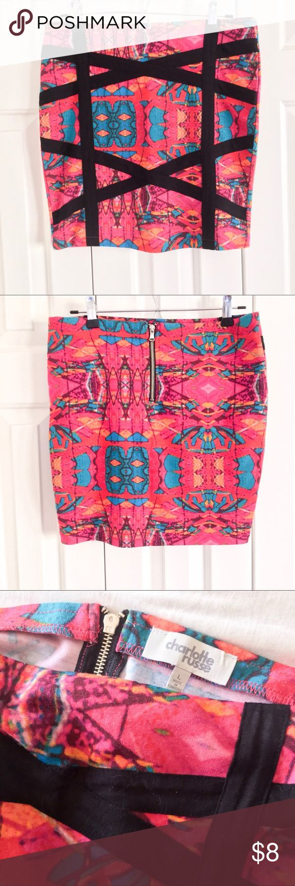 ✨B2G1Free✨ Kaleidoscope Body-Con Mini Skirt Bright and vibrant kalaidascope pattern body-con mini skirt. Thicker fabric with a zipper at the waist. Included in ✨B2G1Free✨ closet-wide sale! Charlotte Russe Skirts Mini