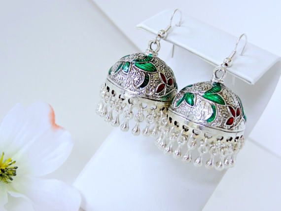 Silver Jhumka Earrings, Large Jhumka Earring, Indian Jhumkas, Bollywood Earrings, Red and Green Floral Earring, Bohemian Earrings Round.