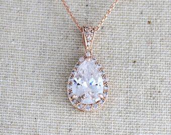 Rose oro collar nupcial, collar de la boda de cristal, collar de Dama de honor de oro rosa, joyas de oro rosa, collar Swarovski, collar lágrima
