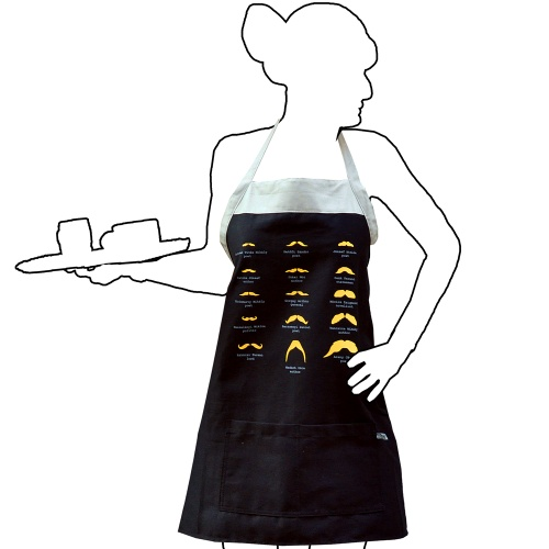 Great Hungarian Mustaches Apron  Instant Hungary's apron with silhouettes of famous Hungarian mustaches is a real Hungaricum! We can follow all styles of mustache-fashion from the optimist and jung József Katona to the old-school fringe of Janos Arany :) Wearing this apron works like a mustache: it looks really fancy and gives an extraordinary style for the owner too. A great Hungarian souvenir for thoughtful people.