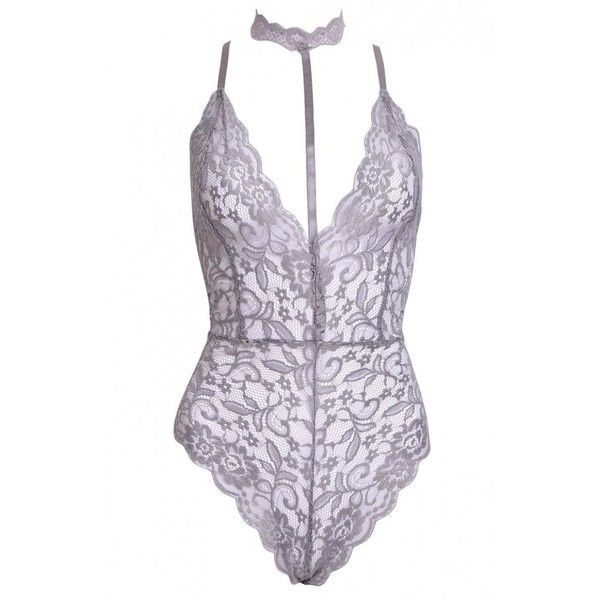 9668d533e6 BAMBI Grey Lace Choker Bodysuit ( 15) ❤ liked on Polyvore featuring  intimates and shapewear