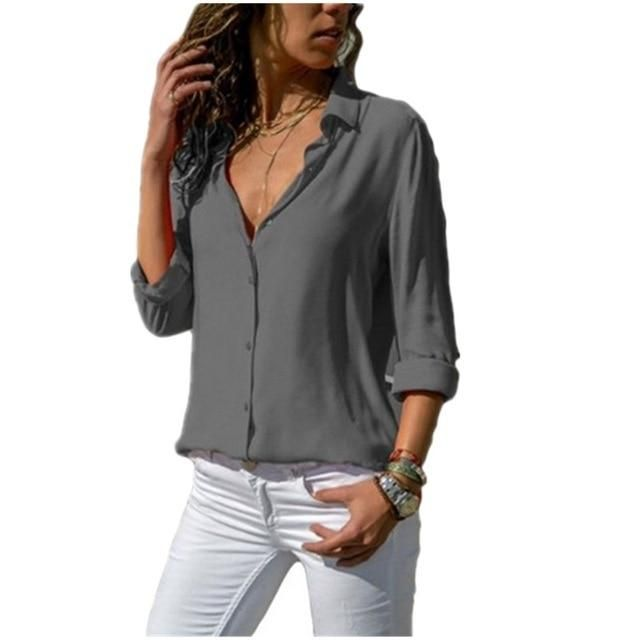 Lossky Women Tops Blouses 2019 Autumn Elegant Long Sleeve Solid V-Neck Chiffon Blouse Female Work Wear Shirts Blouse Plus Size 3