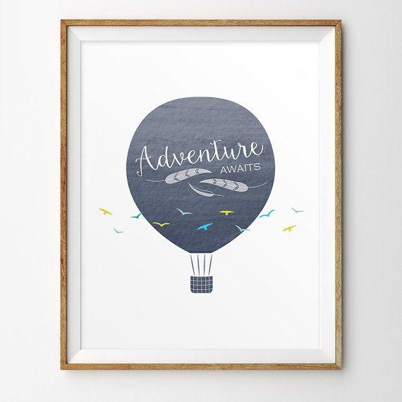Hot air balloon nursery art Adventure awaits by LlamaCreation