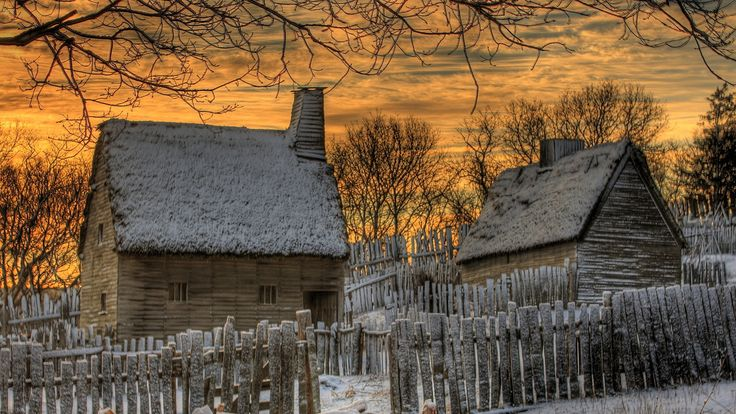 Thatched Roofs Country Homes Winter Hdr Sunset House Roof Fences Desktop Photo