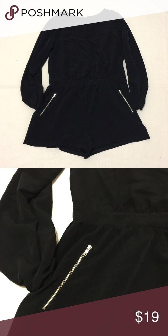 "Silly Black Long Sleeve Romper EUC. Silky black romper. Loose flowy fitting. 31"" shoulder to hem. one clothing Dresses Mini"