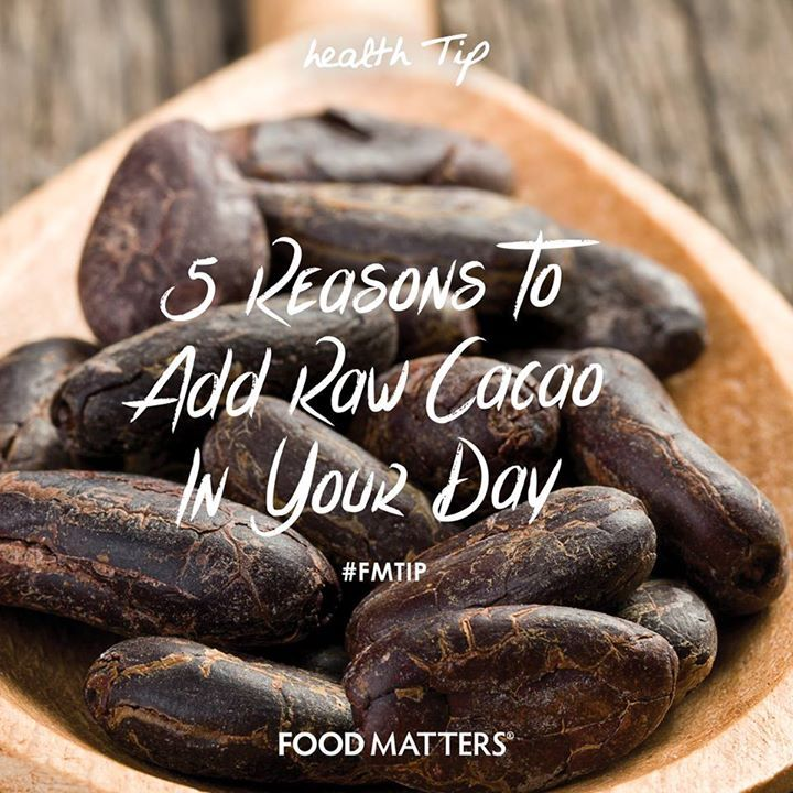 1. Protects your nervous system 2. Reduces blood pressure 3. Guards against toxins 4. Boosts your mood 5. It is rich in minerals What's your favorite way to use raw cacao? www.foodmatters.tv #FMtip #foodmatters