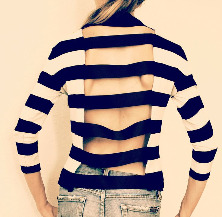 Trash To Couture: DIY: Interesting cut out striped shirt.