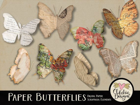 Paper Butterflies Digital Scrapbook Clip Art by ClikchicDesign
