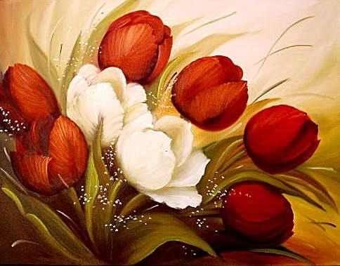 Tulipanes rojos y blancos vintage