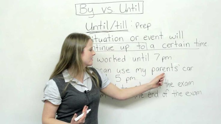 English Grammar - By or Until? -         Repinned by Chesapeake College Adult Ed. We offer free classes on the Eastern Shore of MD to help you earn your GED - H.S. Diploma or Learn English (ESL) .   For GED classes contact Danielle Thomas 410-829-6043 dthomas@chesapeke.edu  For ESL classes contact Karen Luceti - 410-443-1163  Kluceti@chesapeake.edu .  www.chesapeake.edu