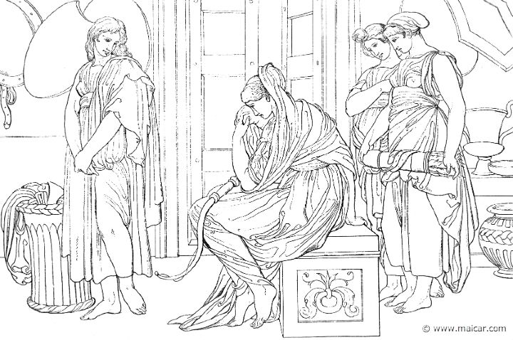 """""""And there Penelope sat down and laid the case upon her knees and wept aloud, and took out the bow of her lord."""" (Hom.Od.21.55). Bonaventura Genelli (1798 – 1868)."""