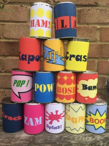 Super Hero TIN CAN Alley Carnival Game SET OF 14 Labels Comic Book Game   eBay